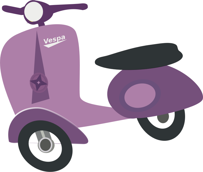 Purple Vespa scooter by chatard - Stylized view of purple Vespa scooter