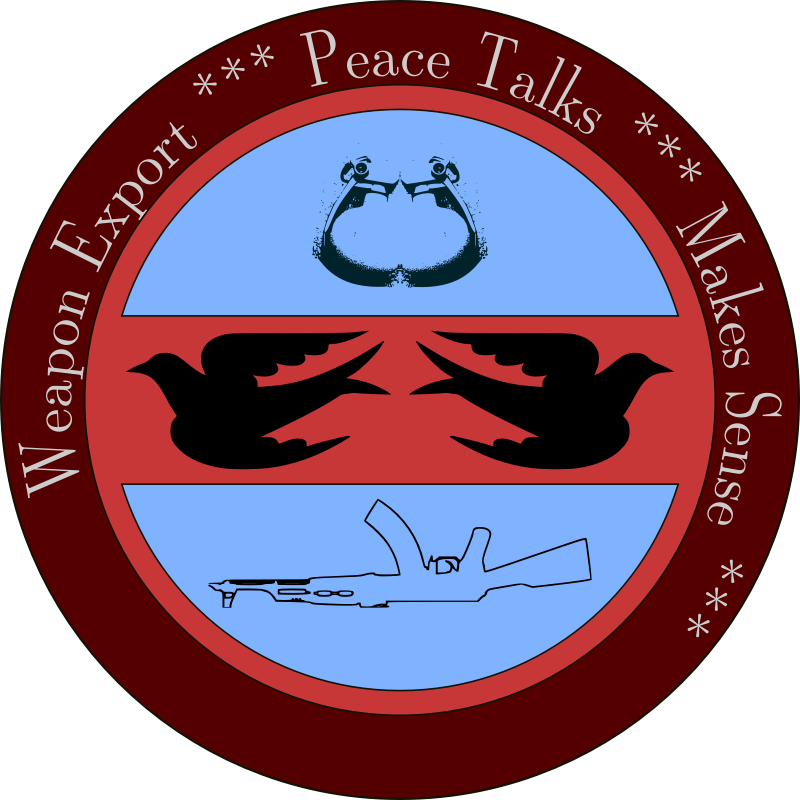 Peace Talks & Weapon Export -- Patch by cibo00 - This is a patch illustrating the purposes of both, striving to keep peace and exporting weapons. It is not an easy task, that is why there are more and more NGOs in the world -- Makes Sense.