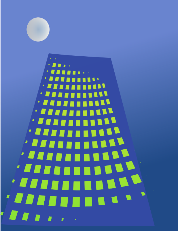 Building in moonlight by chatard - Stylized blue building with yellow windows in moonlight