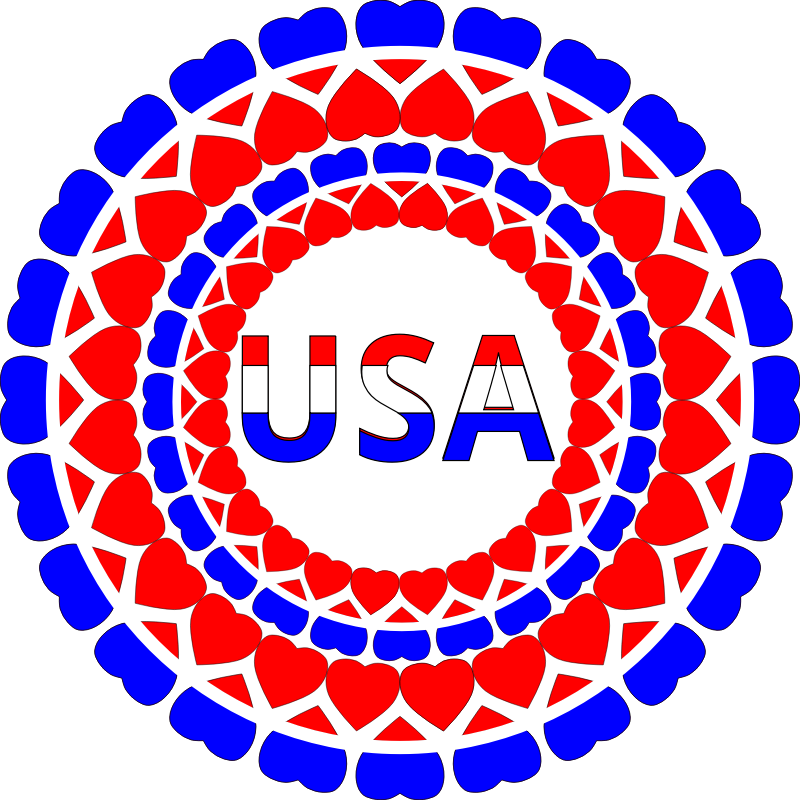 "Heart USA Circles by algotruneman - Sticker or button for 4th of July in the United States, circles of hearts surrounding ""USA""."
