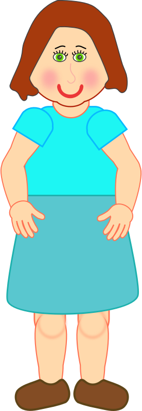 Woman Standing by Deb53 - A Woman Standing with red cheeks and a blue skirt.
