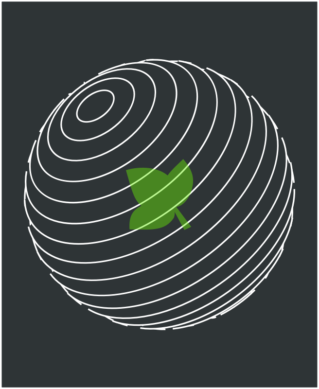 Planet with a green leaf inside by chatard - Planet in white with a green leaf inside, gray background