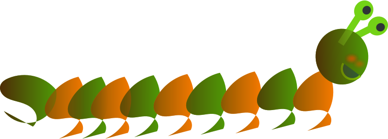 Bi-color computer-worm by chatard - Bi-color computer-worm with orange and green segments