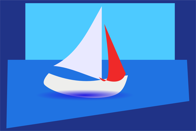 abstract sailing boat by chatard - An abstract sailing boat in a rectangle