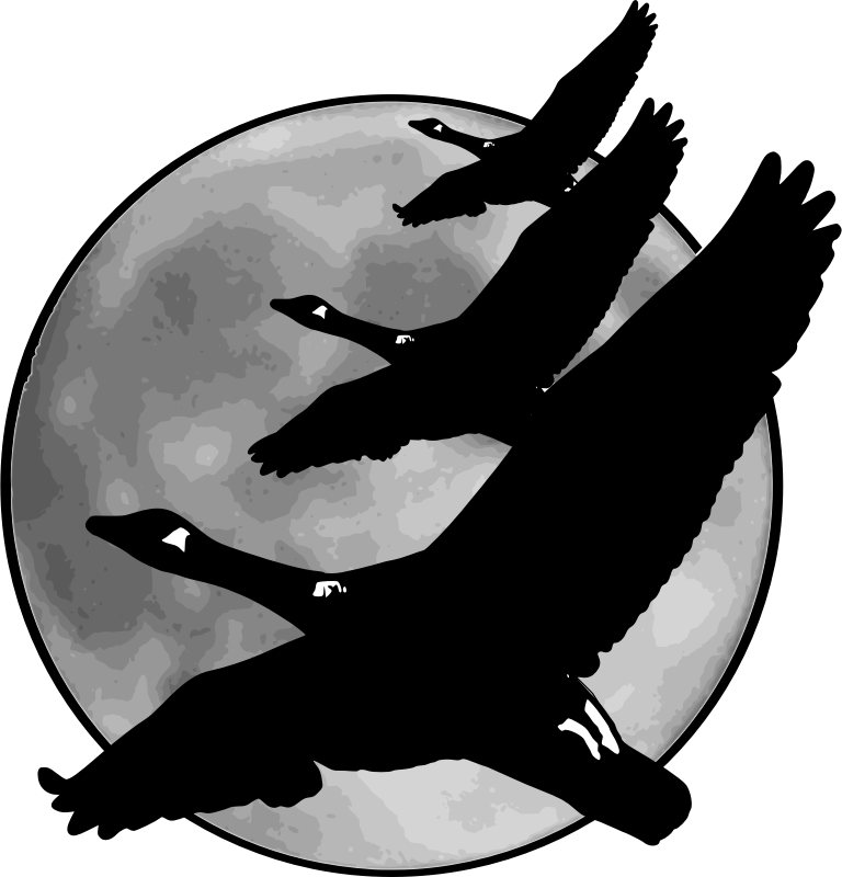 "Geese in front of moon by jimmiet - rework (added to, actually) the original clipart ""Full moon"" by Dimitri Robert."
