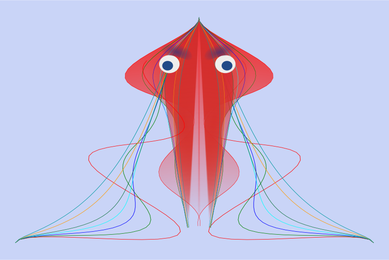 jellyfish with blue eyes. by chatard - A jellyfish with blue eyes and colored lines as tentacles.