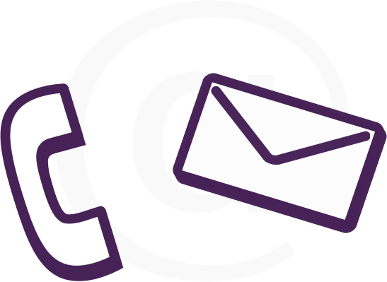 where its at by symbolicM - Clean flat contact graphic showing stylised '70s era telephone reciever and a simple stylised envelope overlapping an @ symbol.