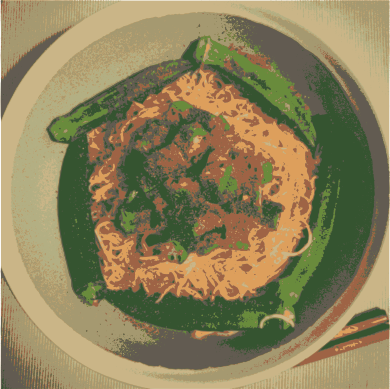 okra shrimp noodle  by jykhui - my cooking okra shrimp egg noodle is one of my favorite food. yummy !!! love Okra and shrimp egg noodle ^^