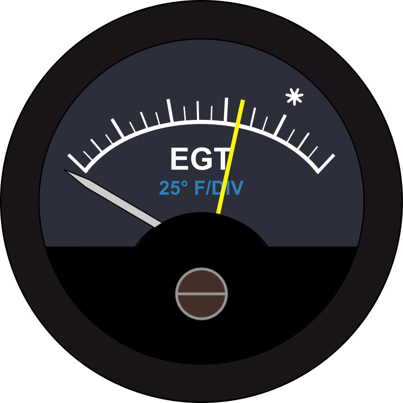 Aircraft EGT Guage by Startright - This is an Analog type Exhaust Gas Temperature Guage for Aircraft. It is used to measure the Exhaust Temerature of the hottest cylinder as a safeguard to engine overheating.