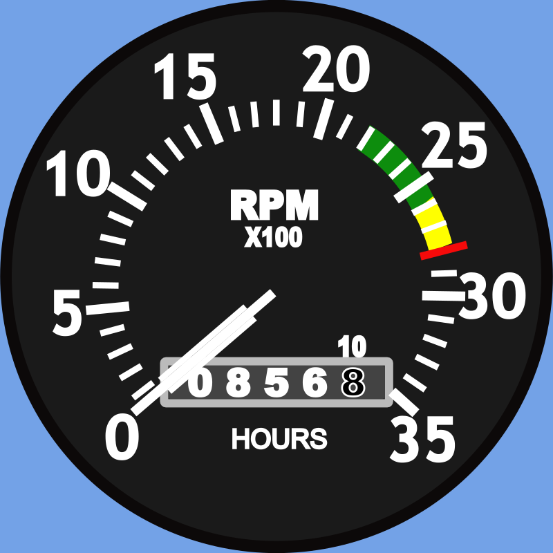 Cessna Type Aircraft Tachometer by Startright - This is a Engine Tachometer common to many types of General Aviation aircraft. It is color-coded