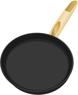 Frying pan by rdevries - A frying pan with a wooden handle.