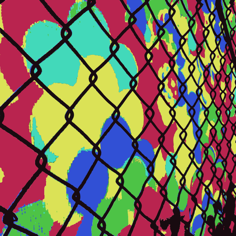 Aiflowers fence by dnodnodno - Aiflowers projected with a chain link fence background.