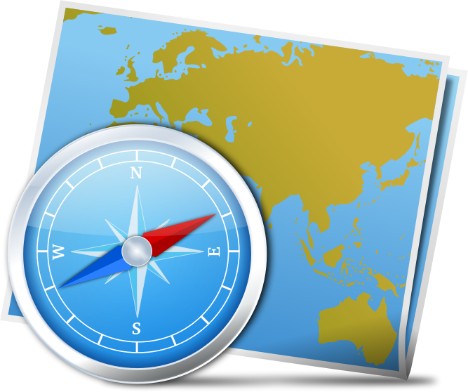 Map And Compass by gnokii - A map and a compass in a photorealistic style.