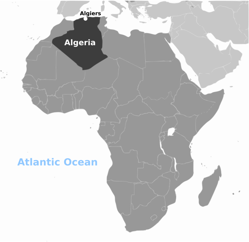Algeria location labeled by wpclipart