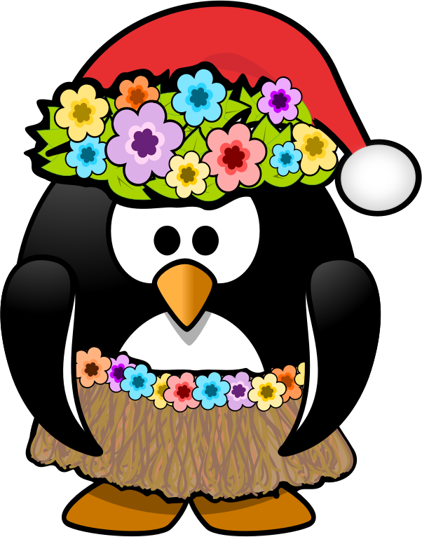 Christmas in July Penguin by KAMC - This hula ready penguin is wearing a Santa hat for a Christmas in July bash.