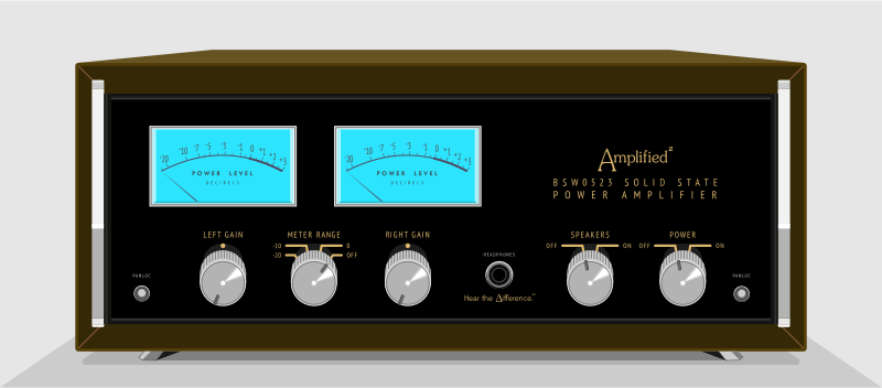 Vintage Solid State Power Amplifier by barrettward - A retro / vintage power amp inspired by older McIntosh equipment.