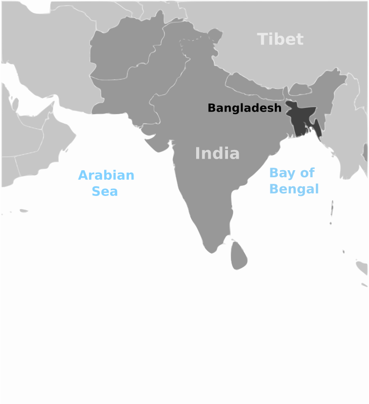 Bangladesh location label by wpclipart - Map of Bangladesh location with labels