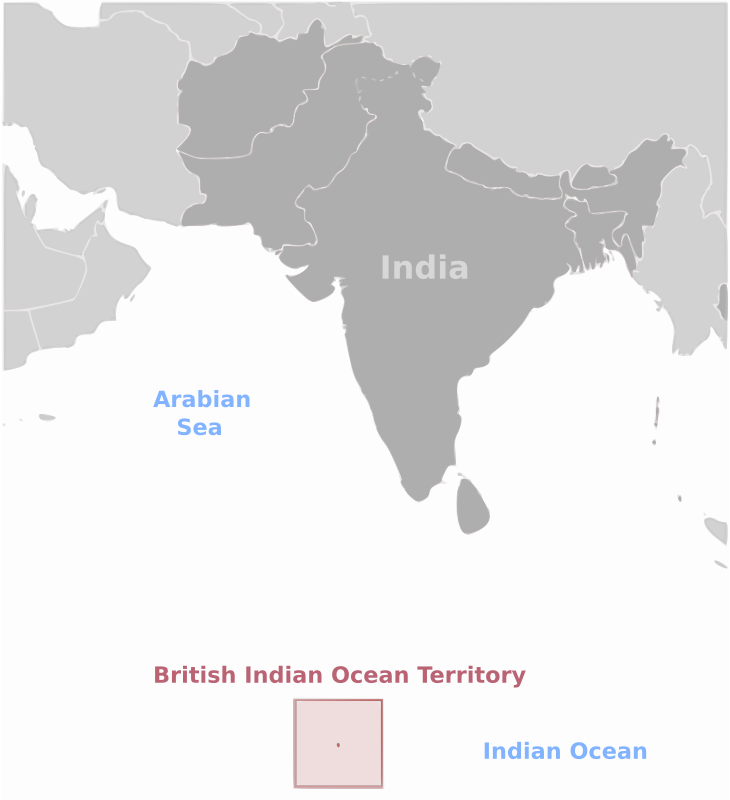 British Indian Ocean Territory location label by wpclipart - Map of British Indian Ocean Territory  location with labels