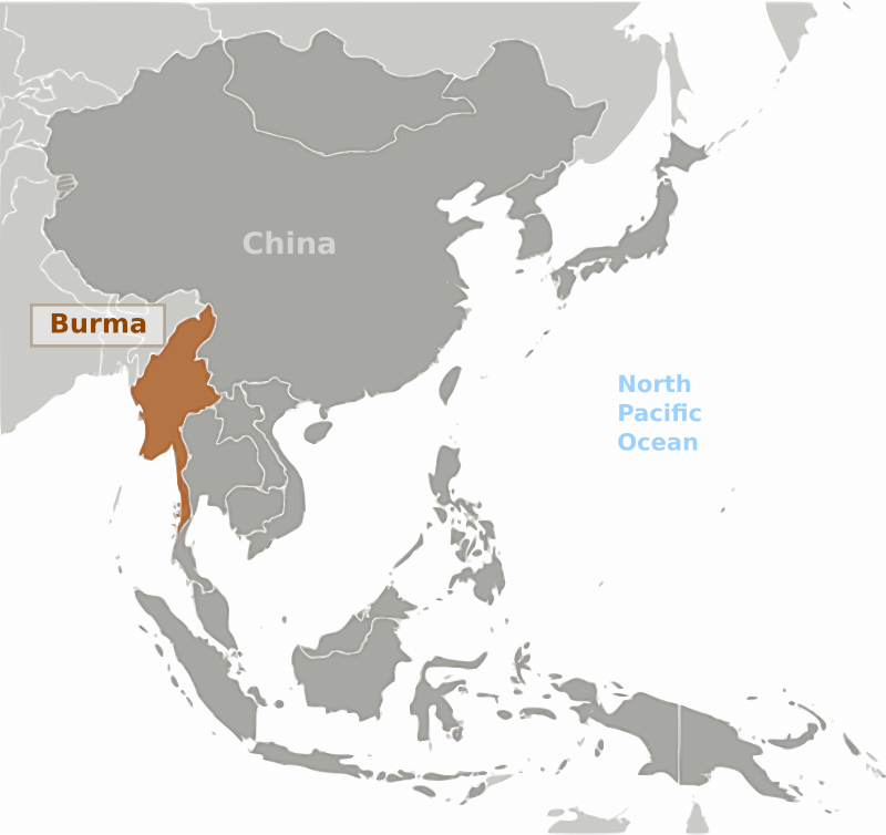 Burma location label by wpclipart - Map of Burma location with labels