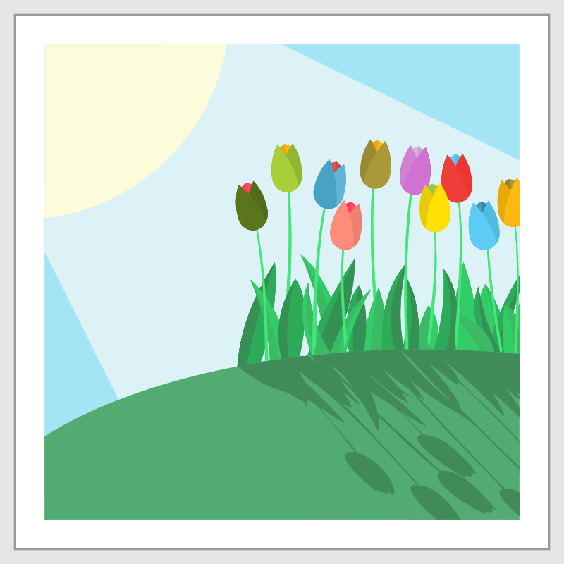 Tulips on a Hill by barrettward - A few tulips on a hill with the sunshine.