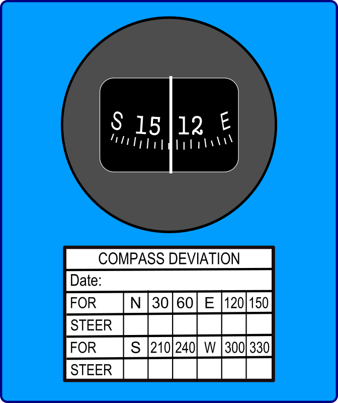 Magnetic Compass by Startright - This is a generic Magnetic Compass used in aircraft. It includes a Compass Deviation Card.