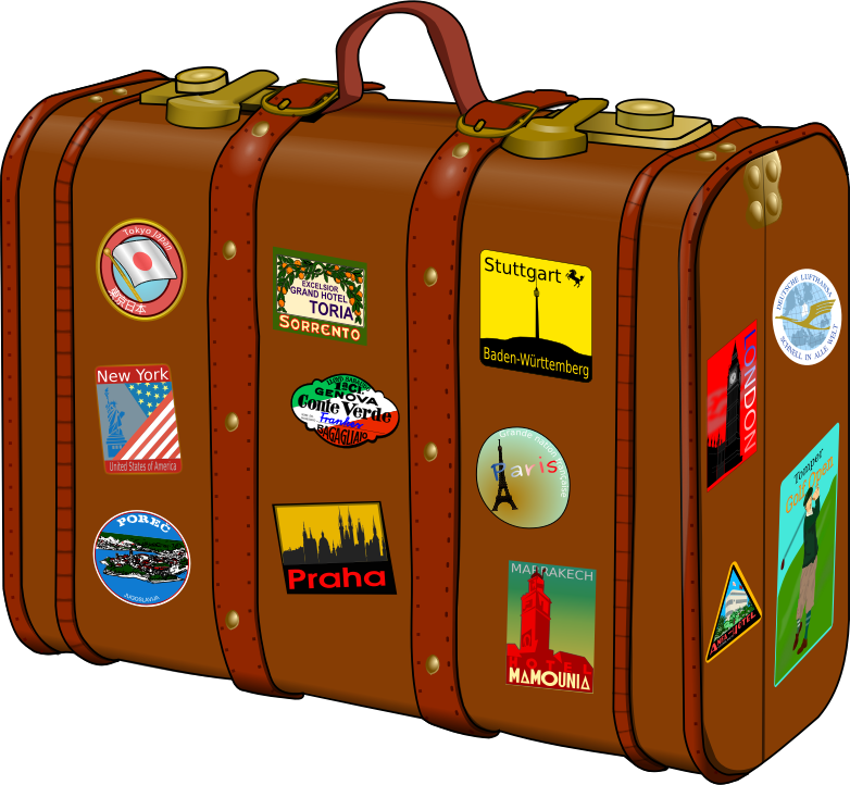 Suitcase with stickers by frankes - Suitcase with travelling stickers. The Eiffel Tower, the Statue of Liberty and the horse can be found here on open clipart, thanks to the subscribers of these images.  Note: Lufthansa is a registered trademark. The stylized crane is also registered for Lufthansa. Use it with caution.