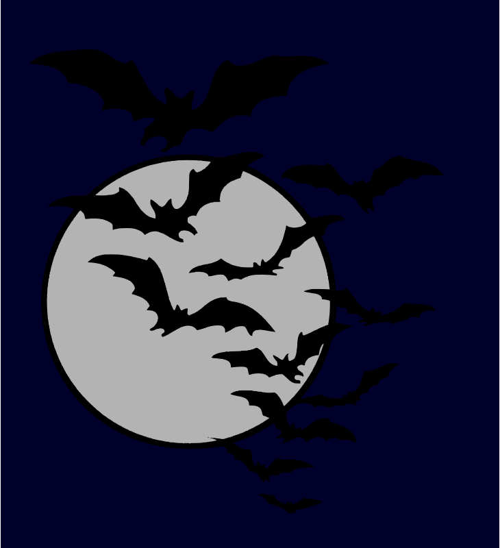 Bat night by liftarn - Bats come out at night. Traced from http://vintagefeedsacks.blogspot.se/2012/10/well-countdown-clock-says-there-are.html
