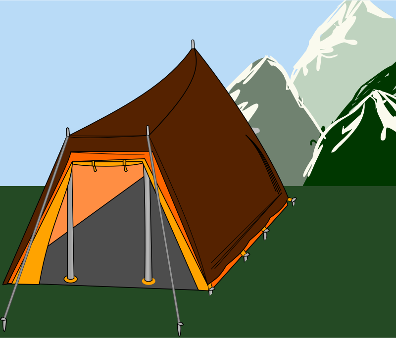 Big tent with three sticks by rdevries - Big tent with three sticks with mountains at the background