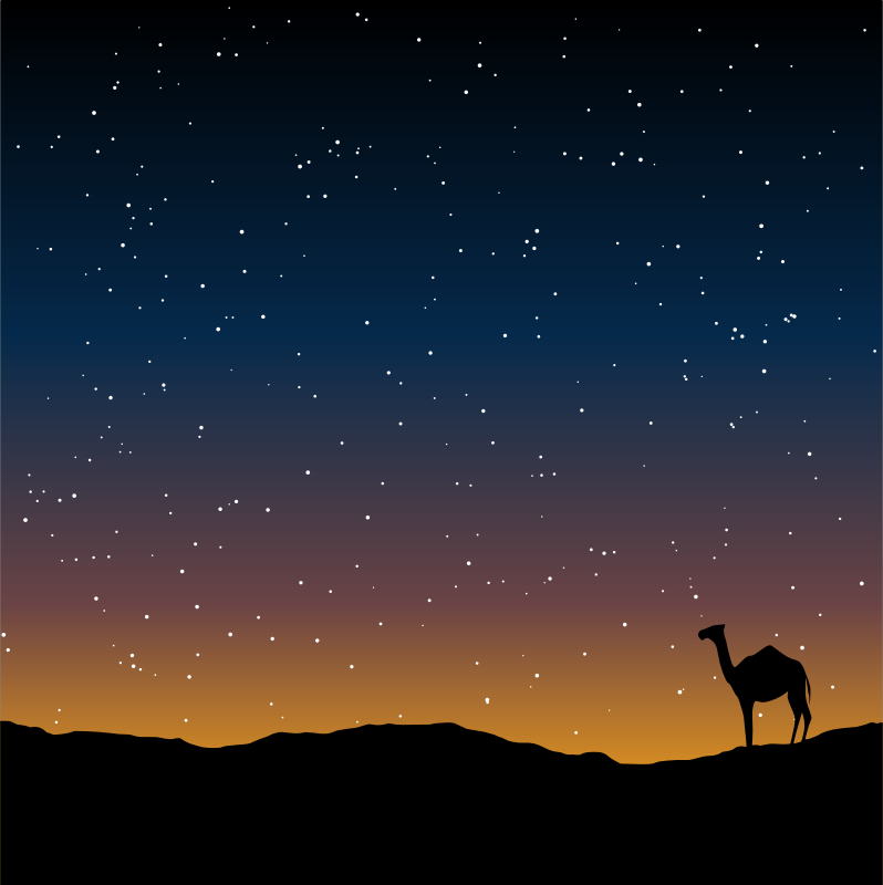 Camel Silhouette by gustavorezende - Camel silhouette under a starry sky. Remade from: http://www.publicdomainpictures.net/view-image.php?image=42410&picture=dusk-and-camel&jazyk=EN