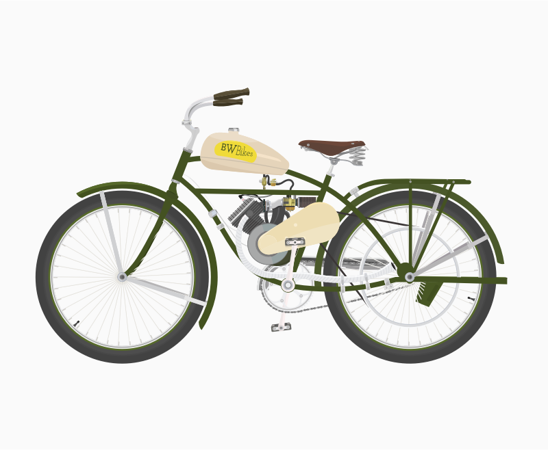 Vintage Bicycle With Motor by barrettward - A powered bicycle based on vintage Whizzer bikes.