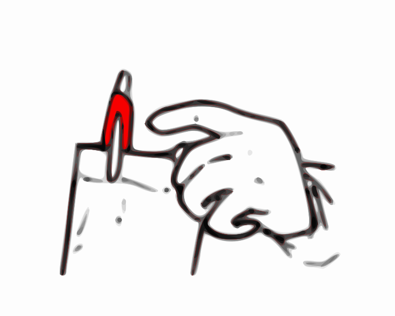 Red Pen by Child_of_Light - This is a drawing of a hand grabbing a red pen.  This was made in GNU/Linux using all the wonderful tools, like Inkscape, MyPaint, and Pinta.