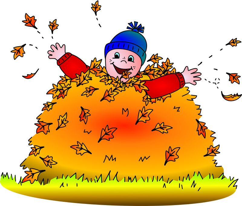 Child in leaves (colored) by cyberscooty - child at play in a pile of leaves