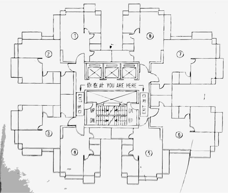 Architectural Floor Plan by rejon - Found on a building in hong Kong. Converted in android camera application.