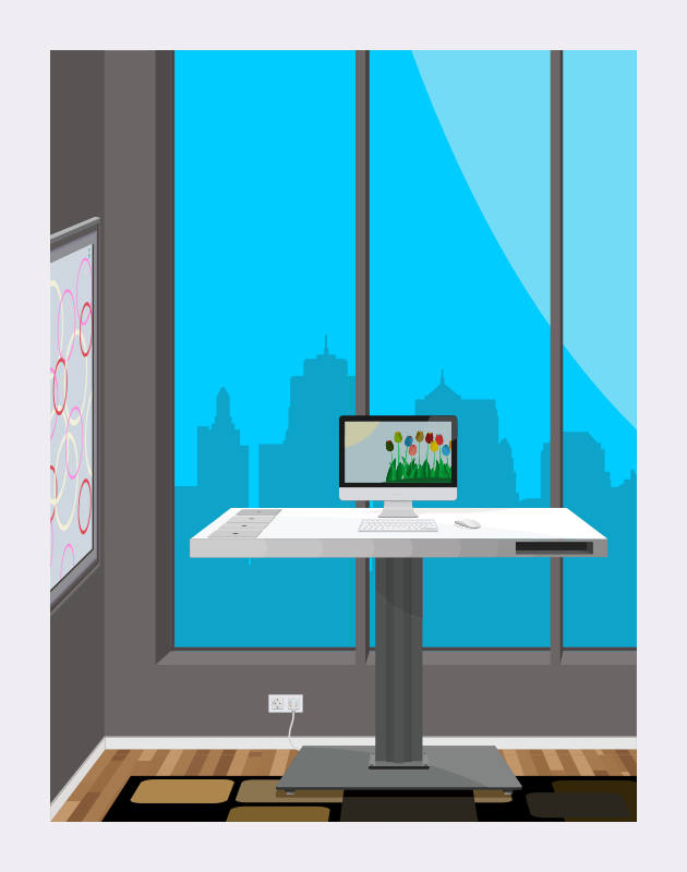 Standing Desk With City View by barrettward - Minimalist standing desk with city view in an apartment.