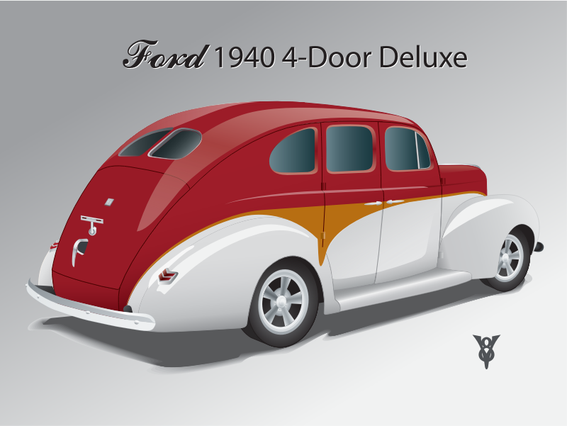 "1940 Ford 4-door Sedan by bnsonger47 - The 1940 Ford presented several engineering changes for Ford Motor Company including a V8 engine as standard. The 4-door sedan featured ""suicide"" doors (the rear opening from the center post along with the front door. This illustration features a contemporary paint scheme. (The Ford script is not the correct logotype)."
