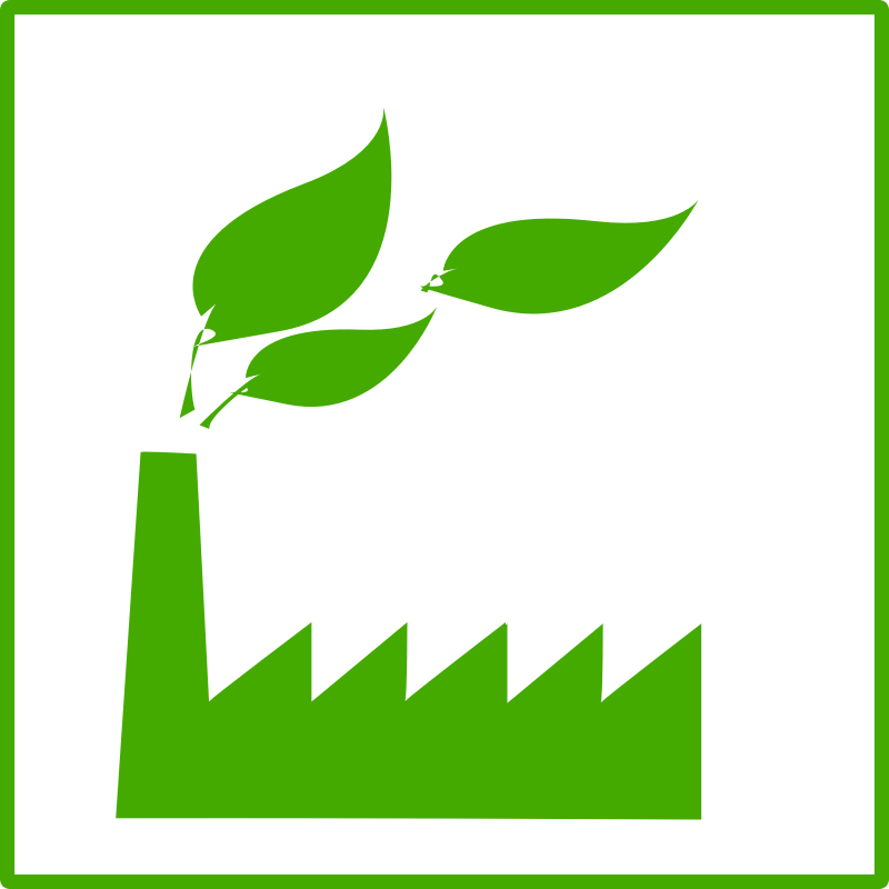 eco green factory icon by dominiquechappard - eco-friendly factory pictogram/icon