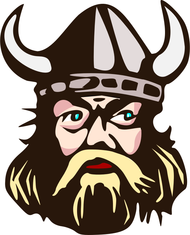 Viking head with horn  by salvor - Viking with  horned helmet
