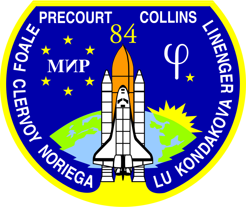 NASA STS-84 Patch by NASA - Public Domain Source http://commons.wikimedia.org/wiki/File:NASA-STS84-Patch.svg