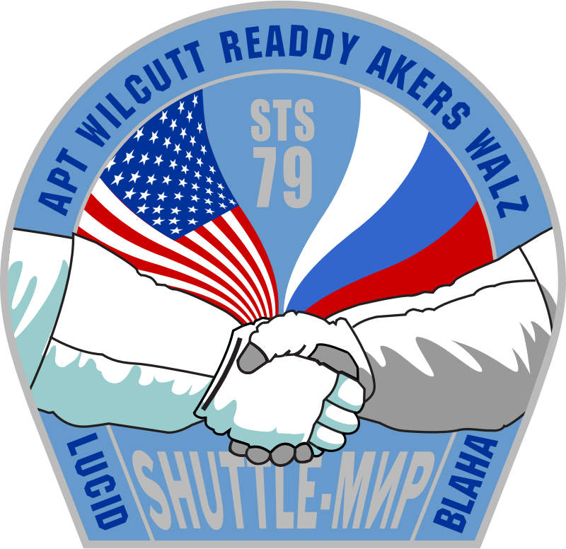 NASA STS-79 Patch by NASA - Public Domain Source http://commons.wikimedia.org/wiki/File:NASA-STS79-Patch.svg