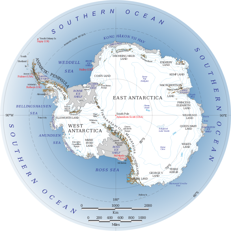 Antarctica by NASA - Public Domain Source http://commons.wikimedia.org/wiki/File:Antarctica.svg