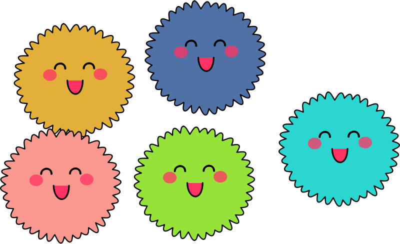 Cute fuzzies by anarres - Simple, cute, colourful, smiling fuzzy creatures.
