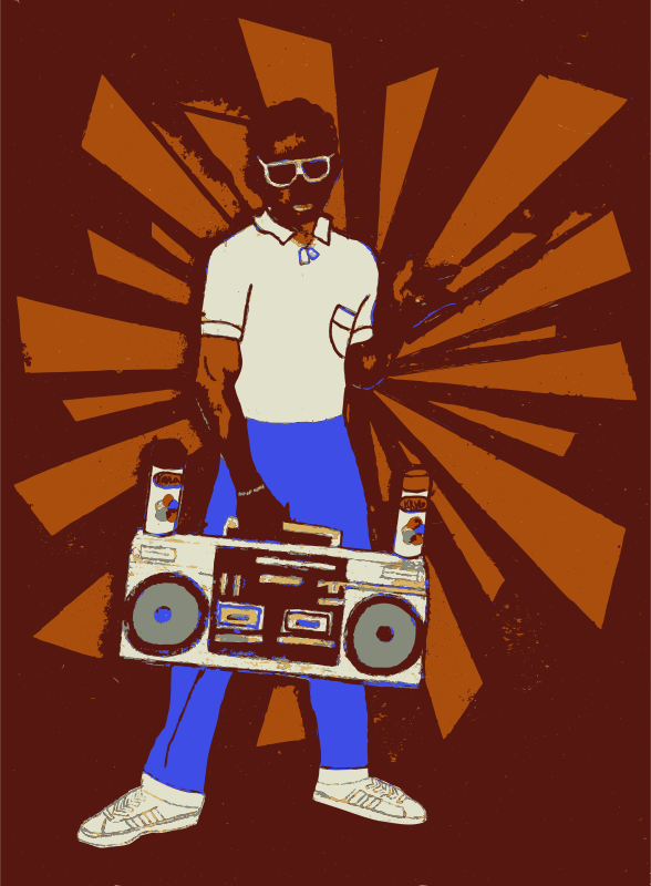 Style Wars kid by dnodnodno - Kid from the movie Style Wars holding a boombox.