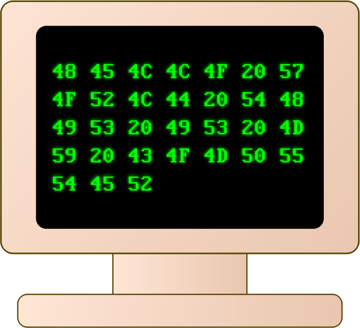 Old computer by jhnri4 - An old computer monitor displaying text in hexadecimal format.