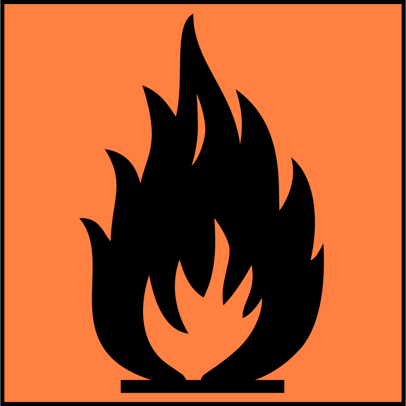 Flamable sign by Justin Ternet - Flamable red symbol.
