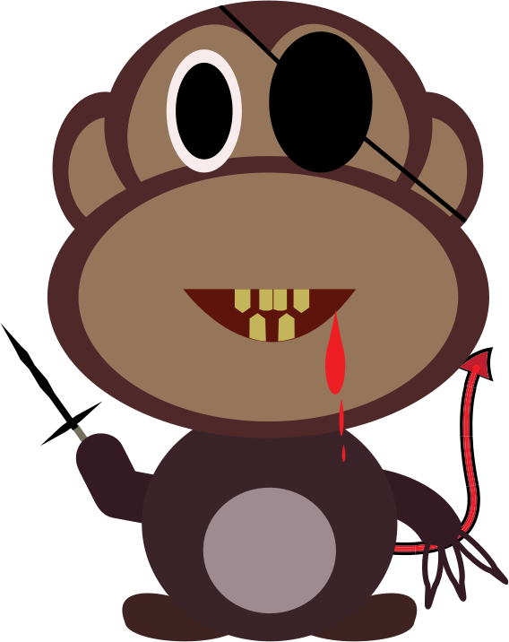 Monkey Killer by beejayhu - A drawing of a braun monkey