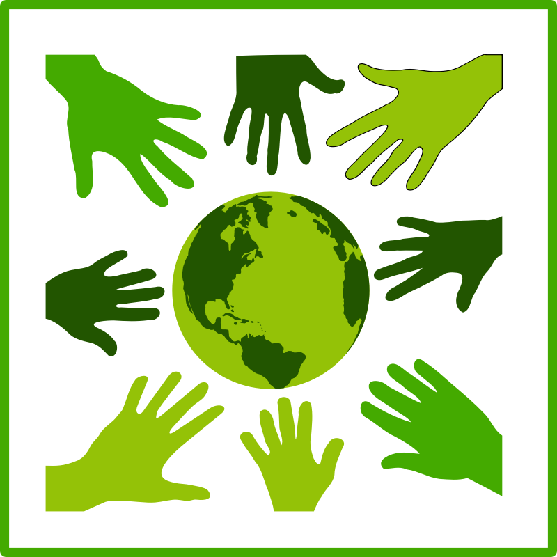 Eco green solidarity icon by dominiquechappard - An eco green solidarity icon with a globe with eight hands around it