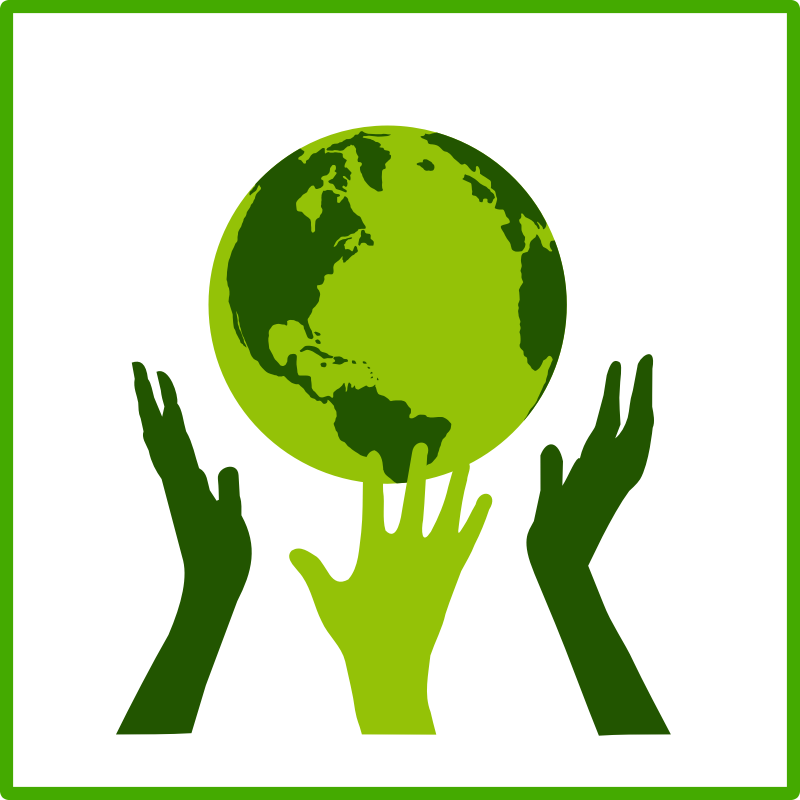 eco green solidarity icon by dominiquechappard - An eco green solidarity icon with a globe and three hands around it