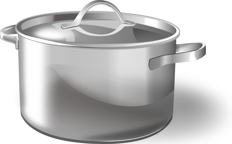 pan by pipo - Metallic cooking pot with top, with shadows, highlights and reflections.