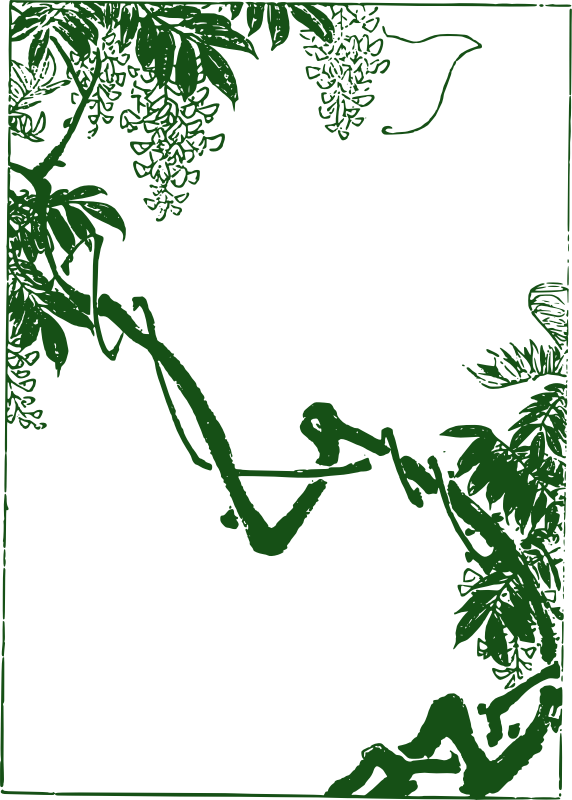 Asian Vines - Split Frame by j4p4n - I'm not sure why, but my muse told me to make this odd frame in dark green. I'm not sure how someone could use a split frame like this, but somewhere someone needs this... and now they have it!