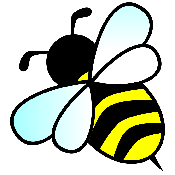 Bee by anarres - A bee - it's a slightly altered version of 'Bee' by forestgreen (http://openclipart.org/detail/118099/bee-by-forestgreen) - I just got rid of the white gradients to get a flatter, less 3D look.